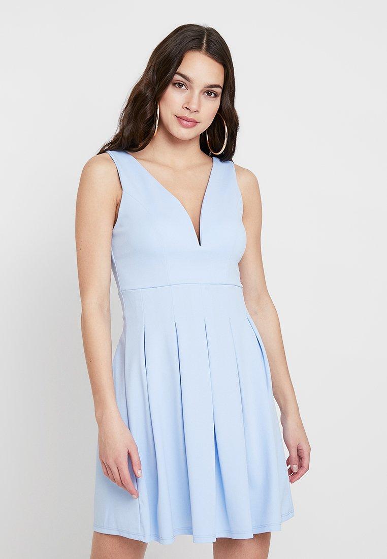 WAL G. - PLUNGE NECK SKATER DRESS - Žerzejové šaty - dusty blue