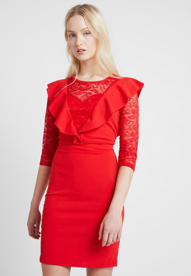 WAL G. - LACE SLEEVE RUFFLE DETAIL DRESS - Cocktail dress / Party dress - red