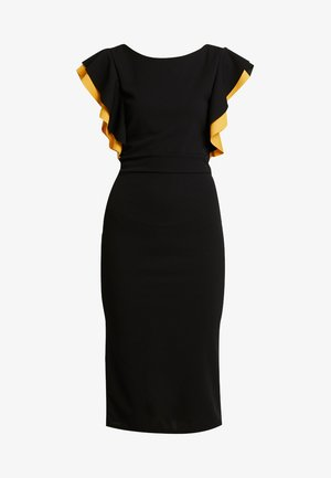 CONTRAST FRILL SLEEVE MIDI DRESS - Robe fourreau - black