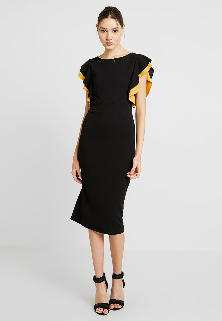 WAL G. - CONTRAST FRILL SLEEVE MIDI DRESS - Etuikleid - black