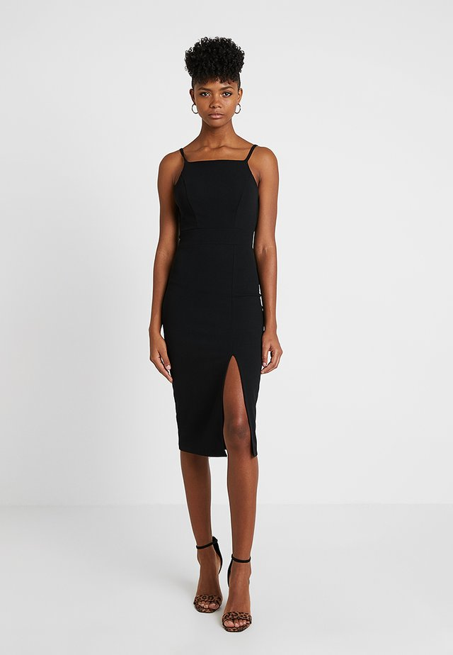 STRAPPY SQUARE NECK MIDI DRESS - Shift dress - black