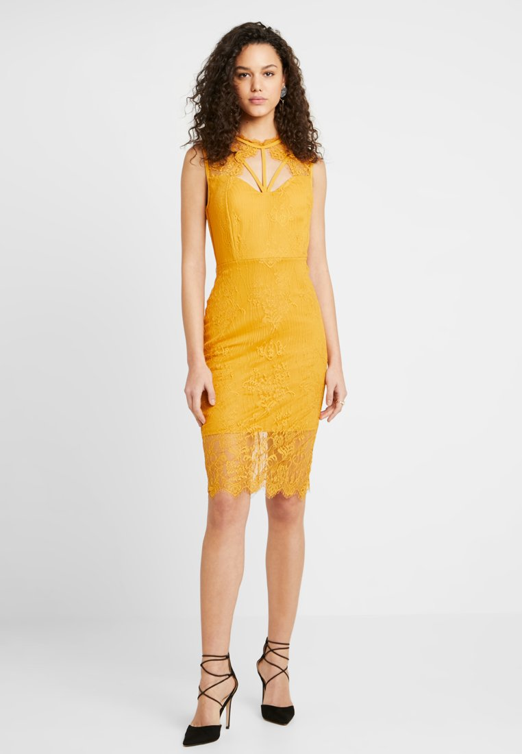 WAL G. - STRAPPY DETAIL MIDI DRESS - Cocktail dress / Party dress - mustard yellow