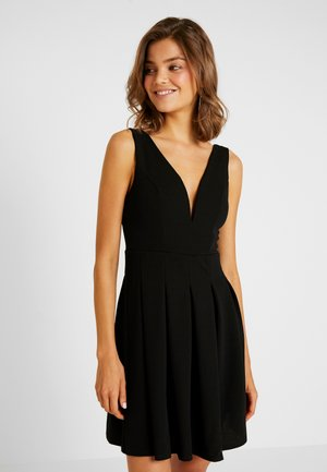 V NECK SKATER - Jersey dress - black