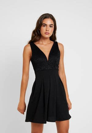 V NECK SKATER - Cocktailjurk - black