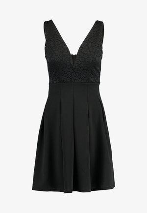 V NECK SKATER - Vestito elegante - black