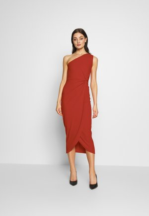 ONE SHOULDER MIDI DRESS WITH KNOT TIE - Etuikjole - red