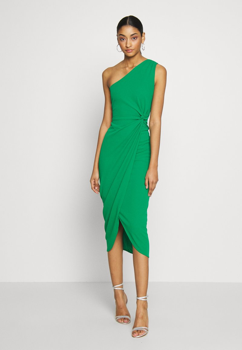 WAL G. - ONE SHOULDER MIDI DRESS WITH KNOT TIE - Etuikjole - green