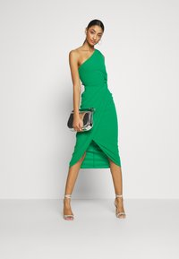WAL G. - ONE SHOULDER MIDI DRESS WITH KNOT TIE - Etuikjole - green - 2