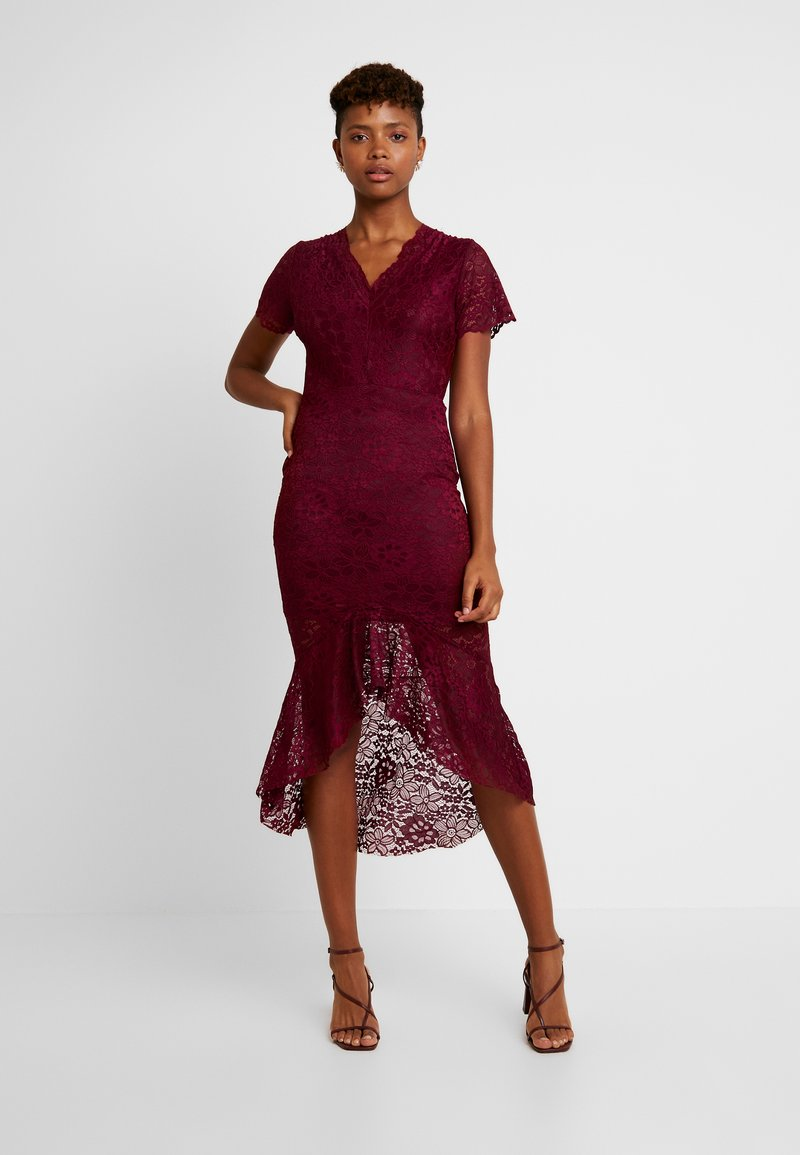 WAL G. - V NECK MIDI WITH FRILL SKIRT - Cocktail dress / Party dress - wine