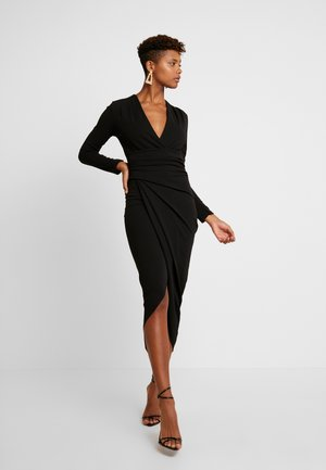 LONG SLEEVE SCUBA MIDI DRESS - Etui-jurk - black