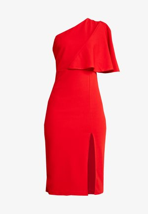 ONE SHOULDER FRILL SPLIT MIDI DRESS - Koktejlové šaty / šaty na párty - red