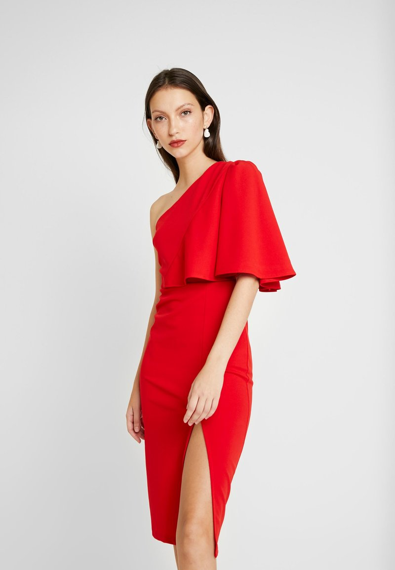 WAL G. - ONE SHOULDER FRILL SPLIT MIDI DRESS - Juhlamekko - red