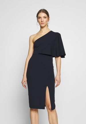 ONE SHOULDER FRILL SPLIT MIDI DRESS - Vestido de cóctel - raspbery