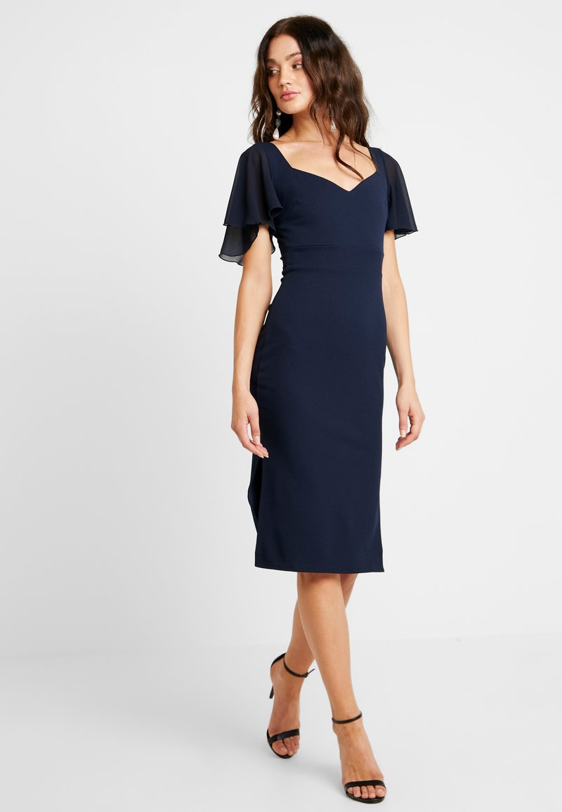 WAL G. - FRILL SLEEVE MIDI - Cocktail dress / Party dress - navy