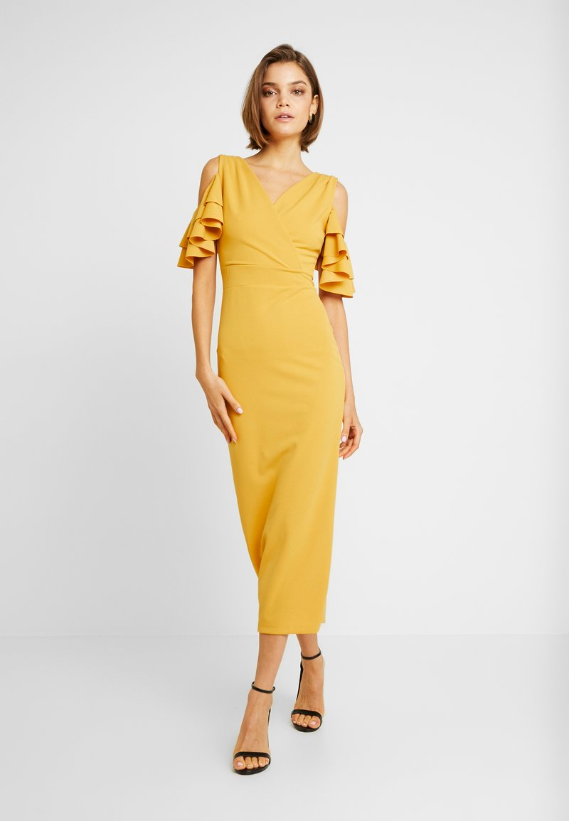 WAL G. - FRILL OFF THE SHOULDER MIDI - Cocktail dress / Party dress - mustard