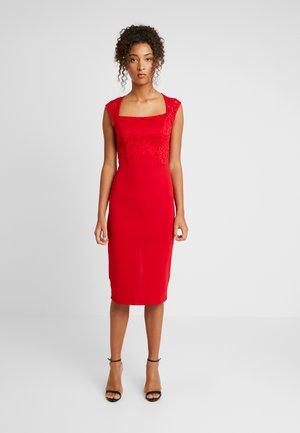 SQUARE NECK MIDI - Vestito elegante - red