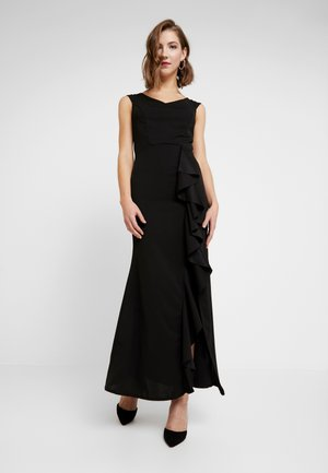 MAXI DRESS WITH FRILL SKIRT - Gallakjole - black