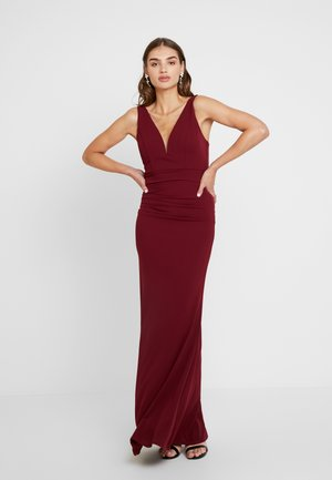 V NECK WAIST MAXI DRESS - Vestido de fiesta - wine