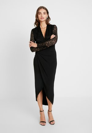 LONG SLEEVE SLINKY MIDI DRESS - Cocktailjurk - black