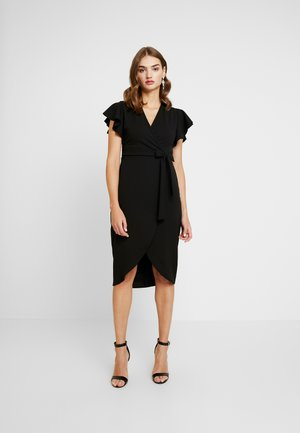 FRILL SLEEVE WRAP DRESS - Robe fourreau - black