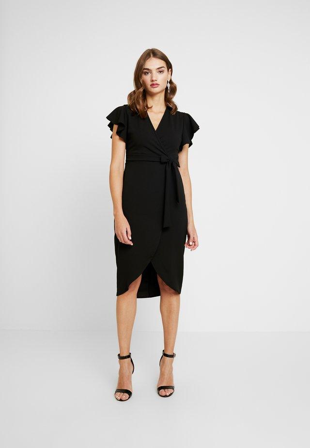 FRILL SLEEVE WRAP DRESS - Etuikleid - black
