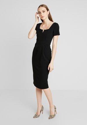 SHORT SLEEVE MIDI DRESS - Pouzdrové šaty - black