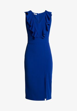 FRILL SHOULDER SPLIT MIDI DRESS - Etuikjole - cobalt blue