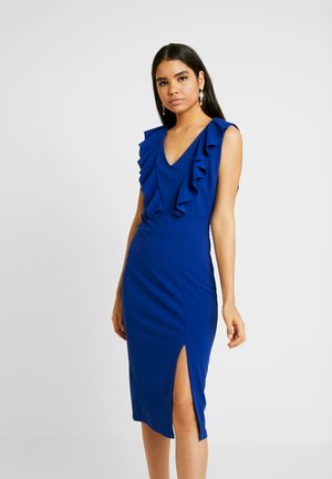 FRILL SHOULDER SPLIT MIDI DRESS - Pouzdrové šaty - cobalt blue