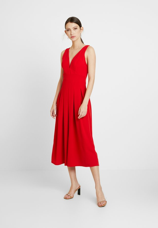 VNECK PLUNGE MIDI DRESS - Vestito elegante - red