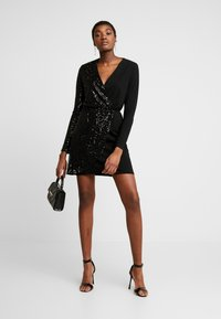 WAL G. - WRAP OVER LONG SLEEVE MINI DRESS - Cocktail dress / Party dress - black - 1