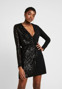 WAL G. - WRAP OVER LONG SLEEVE MINI DRESS - Cocktail dress / Party dress - black - 0