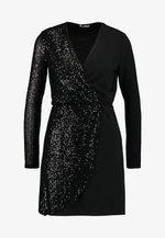 WRAP OVER LONG SLEEVE MINI DRESS - Cocktail dress / Party dress - black