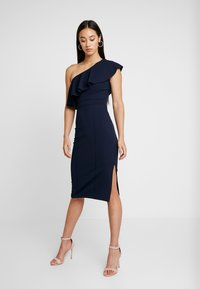 WAL G. - FRILL OFF THE SHOULDER DRESS - Juhlamekko - navy - 0