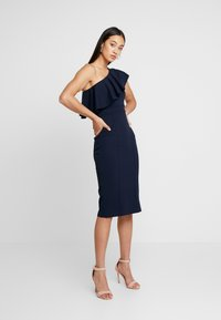 WAL G. - FRILL OFF THE SHOULDER DRESS - Juhlamekko - navy - 2