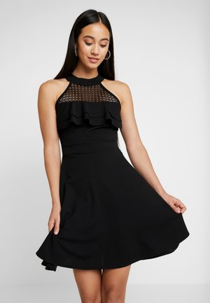 HELCTOR NECK FRILL MIDI DRESS - Cocktail dress / Party dress - black