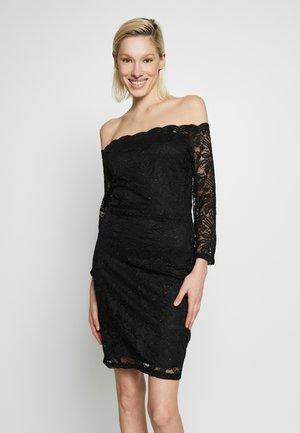 OFF THE SHOULDER GLITTER MINI DRESS - Koktejlové šaty/ šaty na párty - black