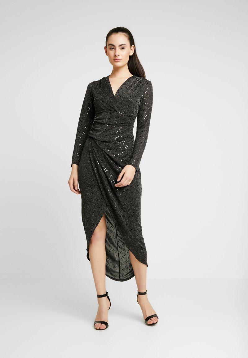 WAL G. - STAR GLITTER WRAP DRESS - Cocktailjurk - black