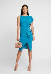 WAL G. - RUFFLE SIDE MIDI DRESS - Sukienka etui - teal - 2