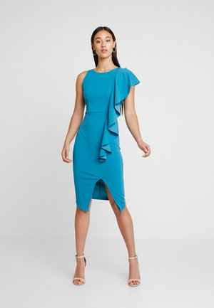 RUFFLE SIDE MIDI DRESS - Shift dress - teal