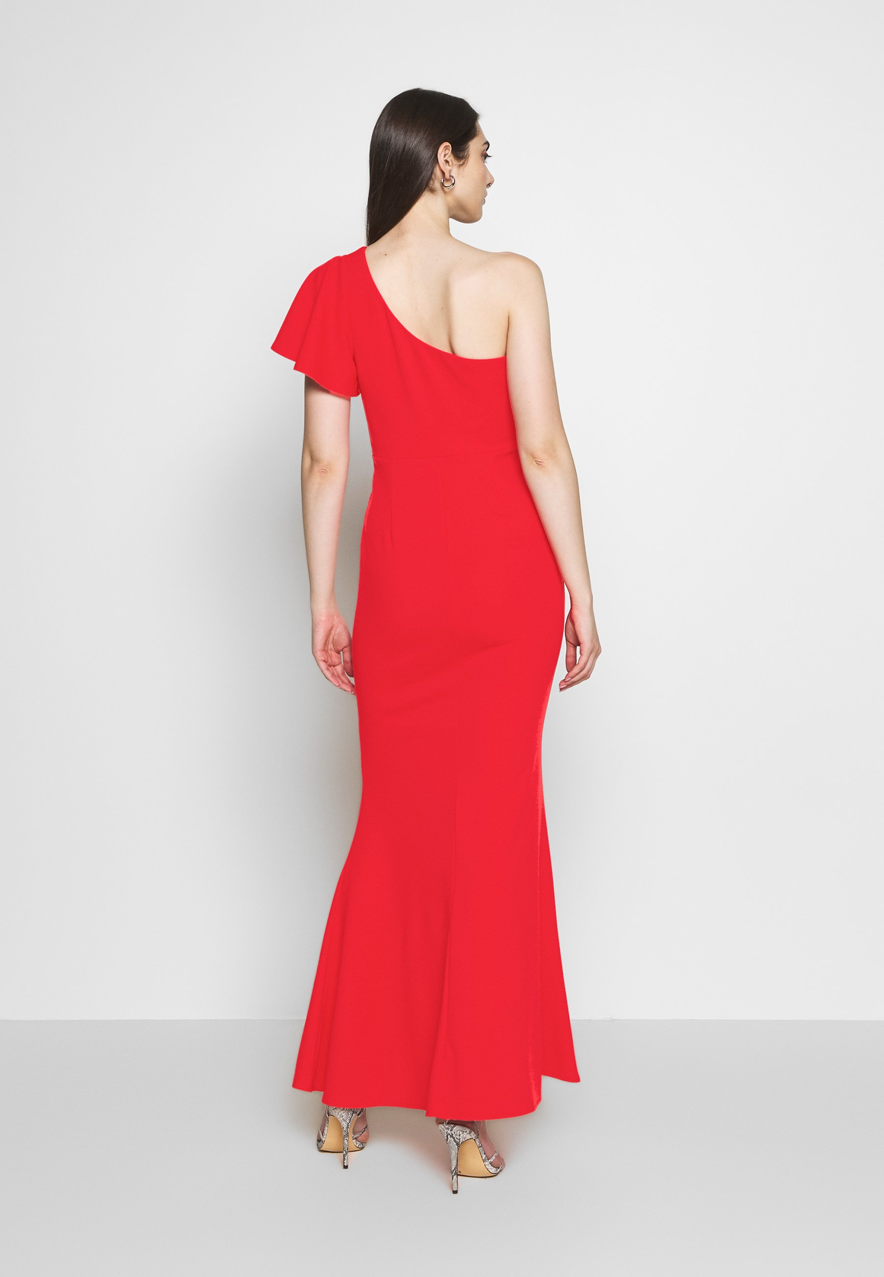 WAL G. OFF THE SHOULDER LAYERD MAXI DRESS - Suknia balowa - berry