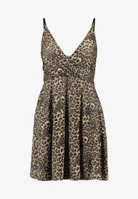 WAL G. - LEOPARD V NECKLINE DRESS - Vestito di maglina - brown - 5