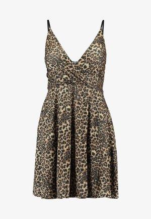 LEOPARD V NECKLINE DRESS - Trikoomekko - brown