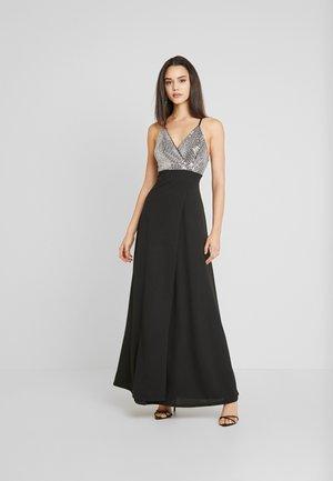 GLITTER MAXI DRESS - Vestido de fiesta - silver/black