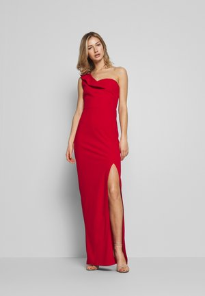 OFF THE SHOULDER FRILL DETAIL MAXI DRESS - Vestido de fiesta - red
