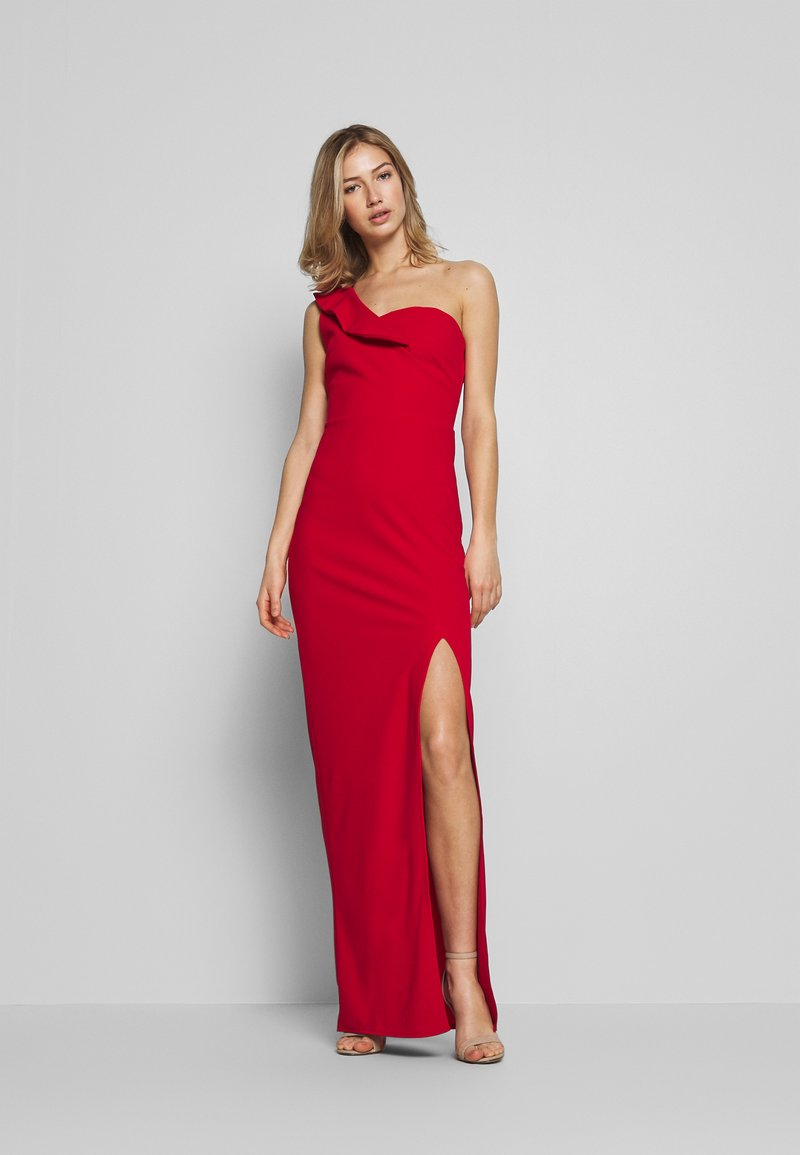 WAL G. - OFF THE SHOULDER FRILL DETAIL MAXI DRESS - Ballkjole - red
