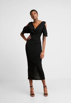 MIDI SHOULDER FRILL DRESS - Vestito elegante - black