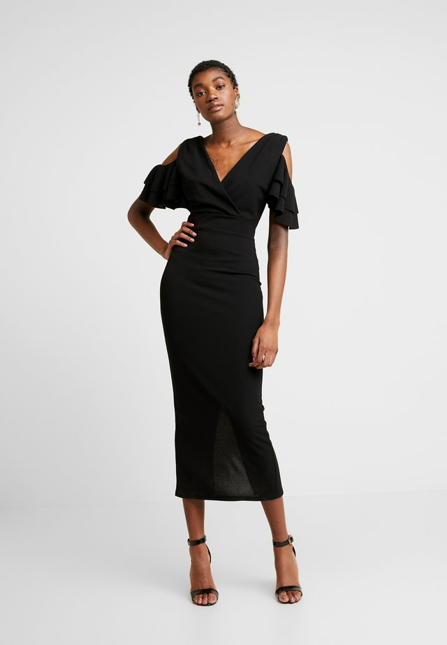 MIDI SHOULDER FRILL DRESS - Cocktail dress / Party dress - black