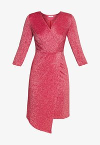 WAL G. - GLITTER FAUX WRAP DRESS - Koktejlové šaty/ šaty na párty - coral - 3