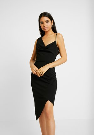 COWL NECK LING ASYMMETRIC MIDI DRESS - Cocktail dress / Party dress - black