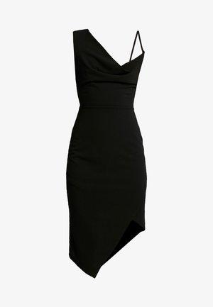 COWL NECK LING ASYMMETRIC MIDI DRESS - Vestito elegante - black
